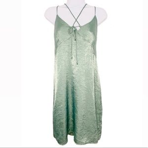 Everly Slip Style Mint Front Tie Dress Med…